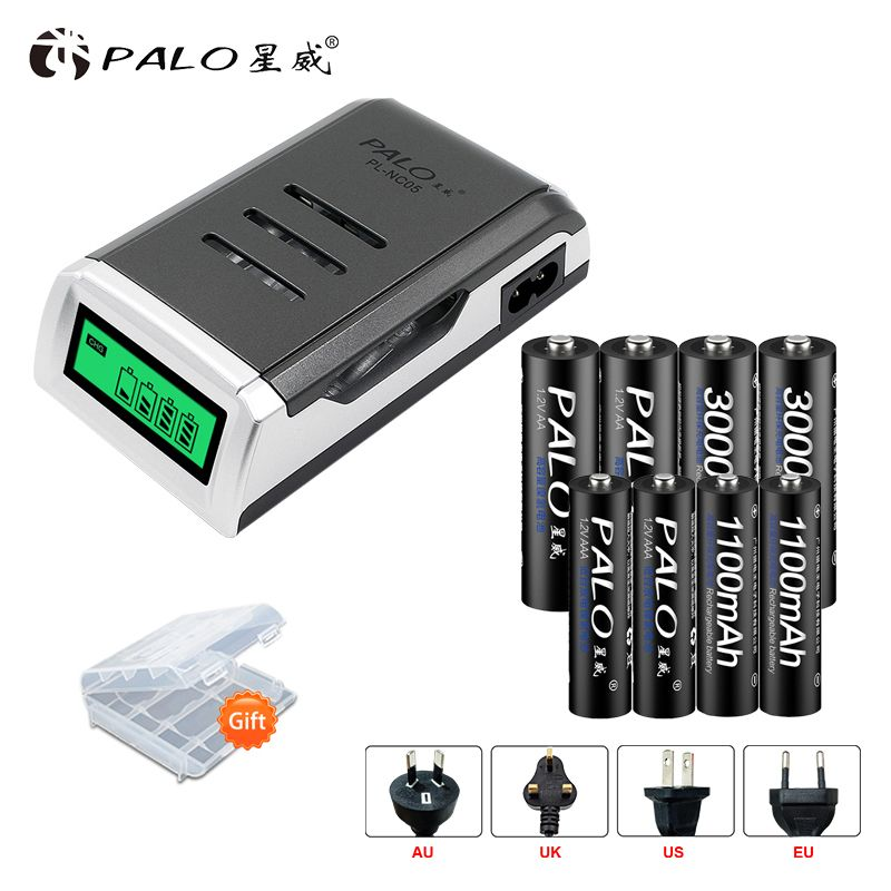 PALO 4 Slots LCD Display Screen Smart <font><b>Intelligent</b></font> Battery Charger bateria For AA AAA batteria +AA AAA rechargeable batteries