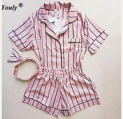 Большие размеры, лето 2019, модные женские пижамы, отложной воротник, одежда для сна, комплект из 2 предметов, рубашка + шорты, полосатые повседн...