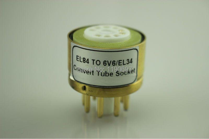 1PC EL84 6P14(Top) TO 6V6 EL34(Bottom) 9Pin TO 8Pin Tube DIY Audio Vacuum Tube Adapter Socket Converter Free Shipping