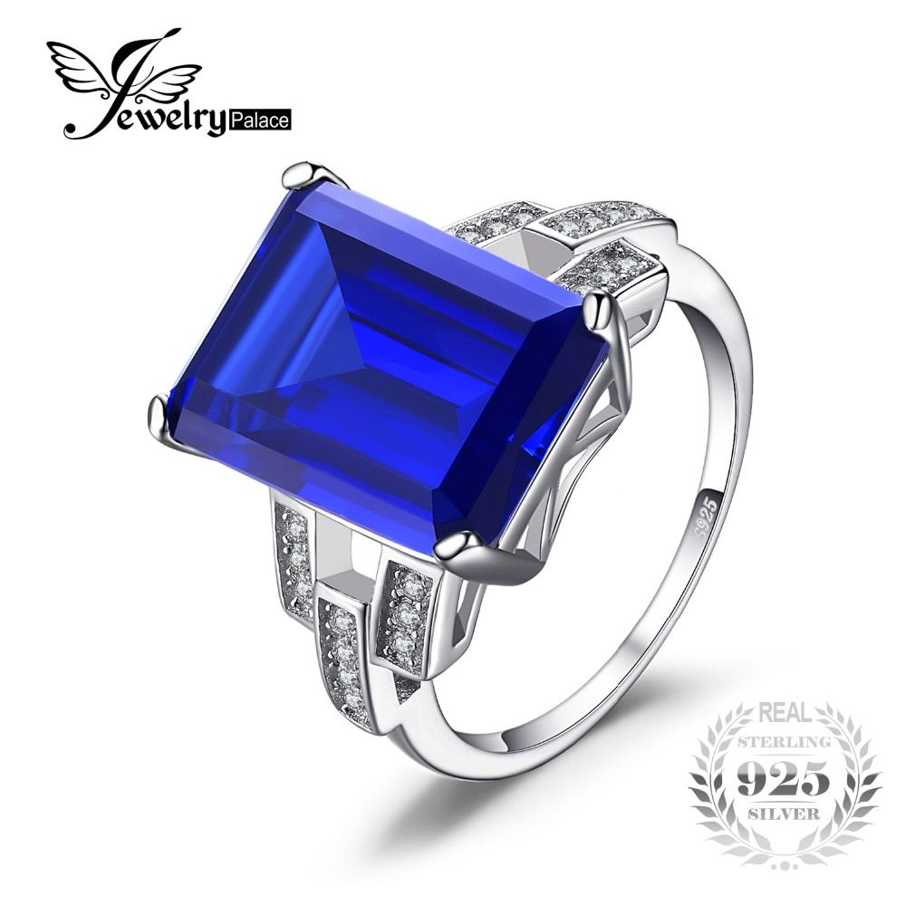 JewelryPalace Luxury Emerald Cut 9.6ct Created Blue Sapphire Cocktail Ring Genuine 925 Sterling Silver Ring for Fashion Women