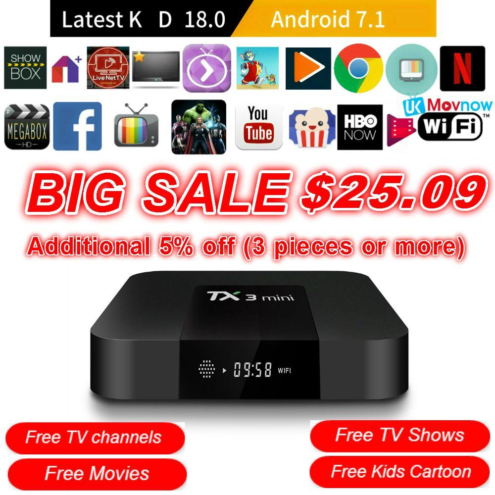 TTVBOX TX3 Mini Android TV BOX Android 7.1 OS 1GB/8GB 2GB/16GB Amlogic S905W Quad Core Smart TV Box 2.4G WiFi HDMI Media Player