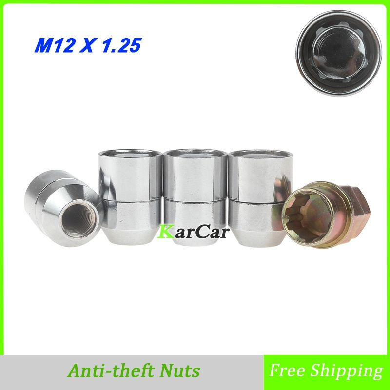 4 Pieces Alloy Steel Closed Ended Anti theft Wheel Lug Nuts with Key Auto Car Enhanced Groove Security Nuts M12x1.25 Chrome