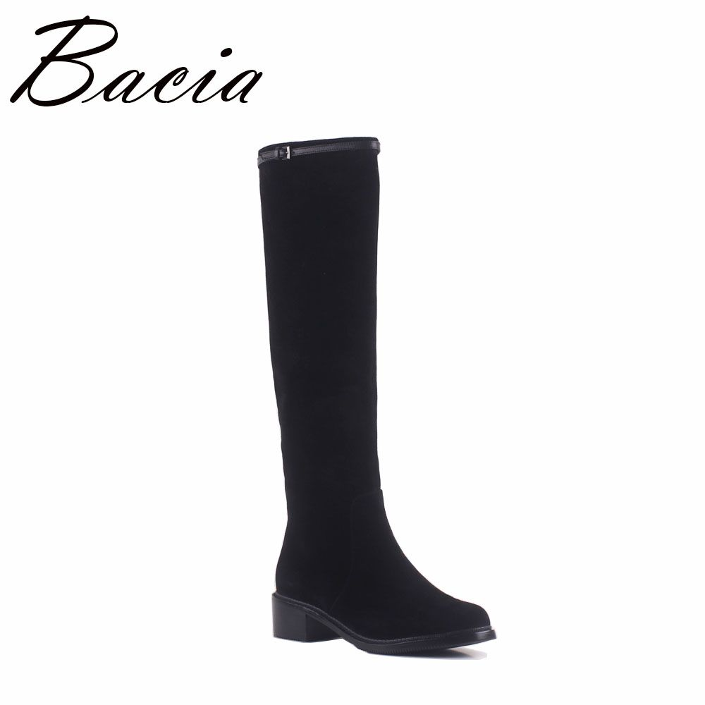 Bacia Fashion Style Autumn Knee High Boots Female Leather High Quality Sheep Suede Women Boots Sexy Ladies Black Shoes SA049