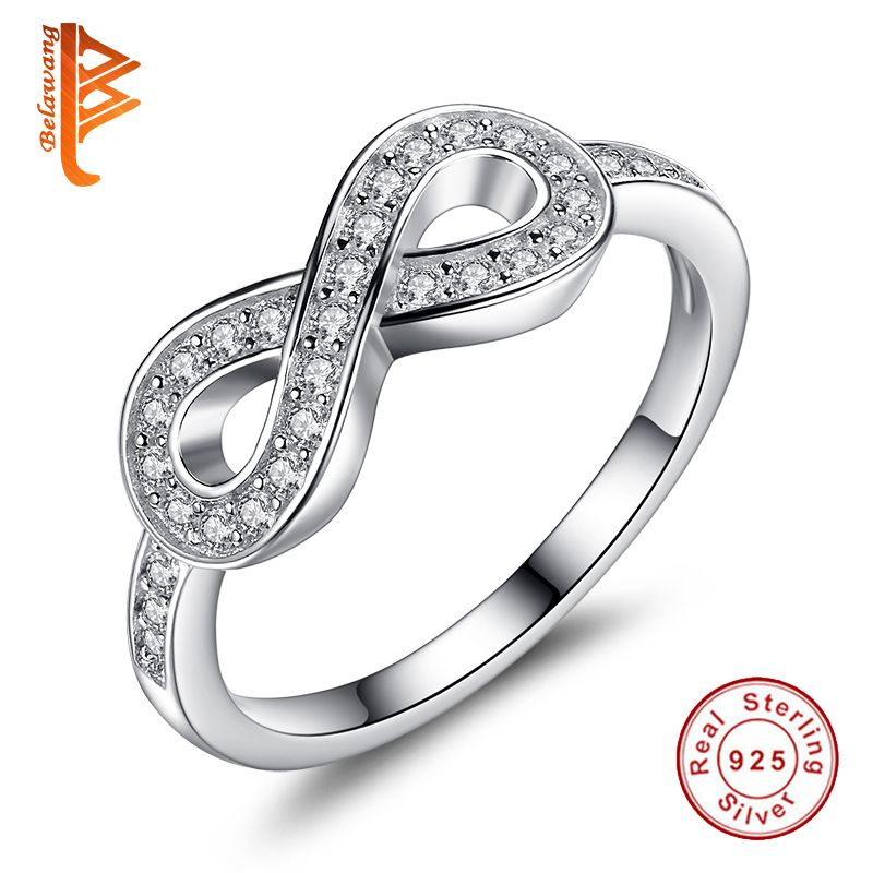 BELAWANG D'origine Bijoux Véritable 925 Sterling Argent 8-En Forme De Mariage Bijoux Bagues Pour Femmes Marque Lady Infinity Anneau