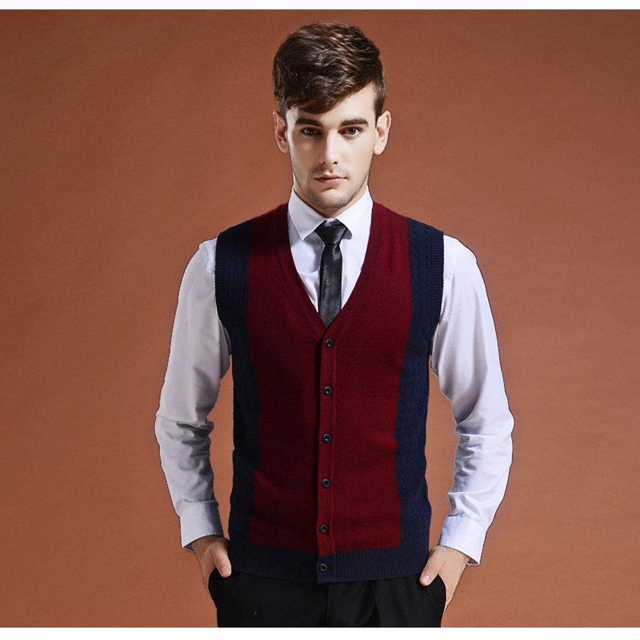 Chandail Cardigan boutons vers le bas tricot veste gilet pour hommes sans manches laine élégant mode Patchwork rouge gris 2018