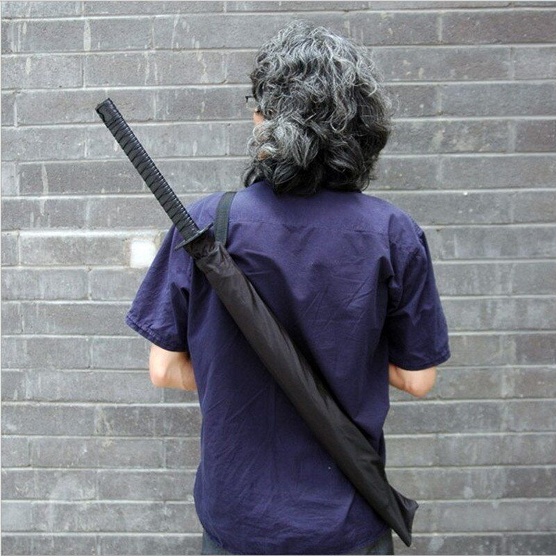 Large Windproof Ninja-like Japanese Samurai Sword Long-handle Rain Sun Straight Umbrella Men & Women 8 / 16 / 24 Ribs Black