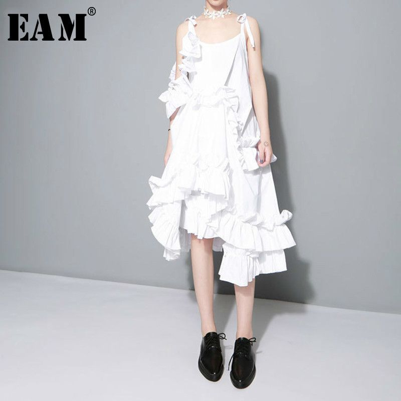 [EAM] 2018 New Autumn Irregular Multilayer Ruffles Solid Color Loose Fashion Sexy White Dress Women Trendy Tide J211