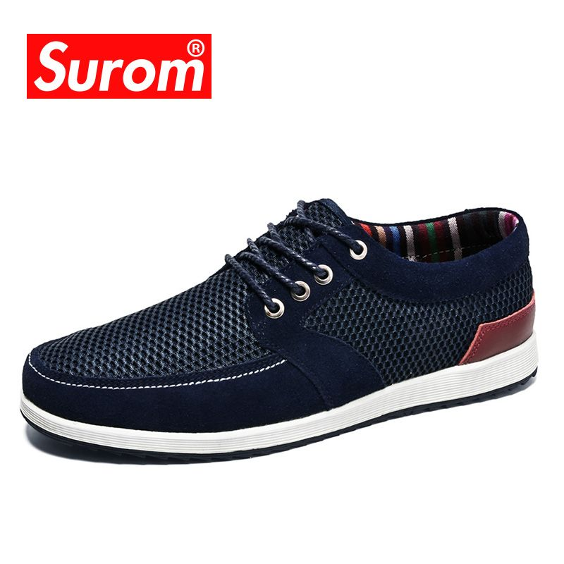 SUROM 2018 Summer New Fashion Shoes Men Sneakers Luxury Brand Breathable Leather Mesh Lace Up Casual Shoes Men Loafers Krasovki