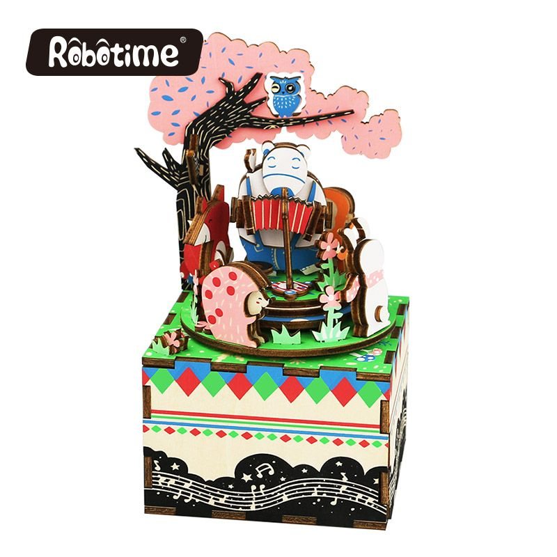 Free Shipping Robotime 3D Puzzle DIY Ear Educational Puzzle Toy Wooden kids room Drop Shipping Music Box Forest Concert AM404