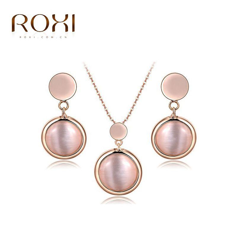 Sistemas de La Joyería ROXI Opal Colgante Collar Pendientes de Gota de Oro Rosa de Austria Cristales Sistema de La Joyería conjunto bijoux femme Moda