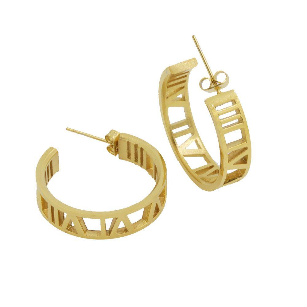Joyería de moda Números Romanos Amante Stud Pendientes de Acero Inoxidable de Color Oro Pendientes Para Las Mujeres Joyería Piercing