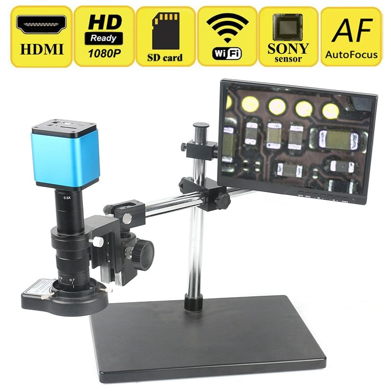 AutoFocus Sony IMX185 Sensor Adjustable 180X HDMI WIFI Industrial Video Microscope Camera Set Lab PCB CPU Soldering Work System