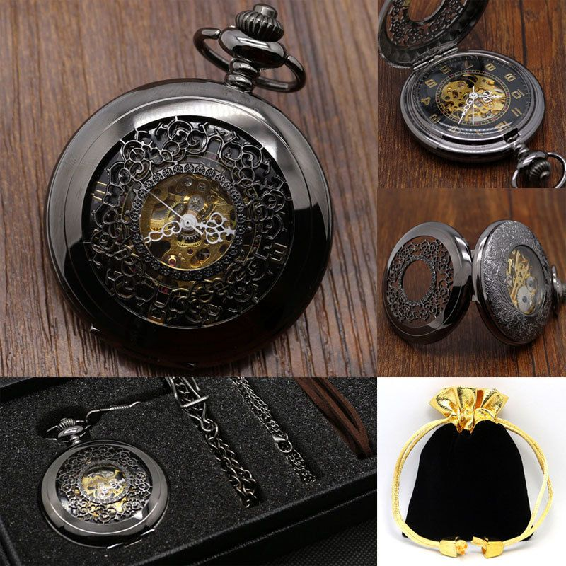 Steampunk Hollow Black Flower Semi-Automatic Mechanical Pocket Watch Men Women P805WBWB
