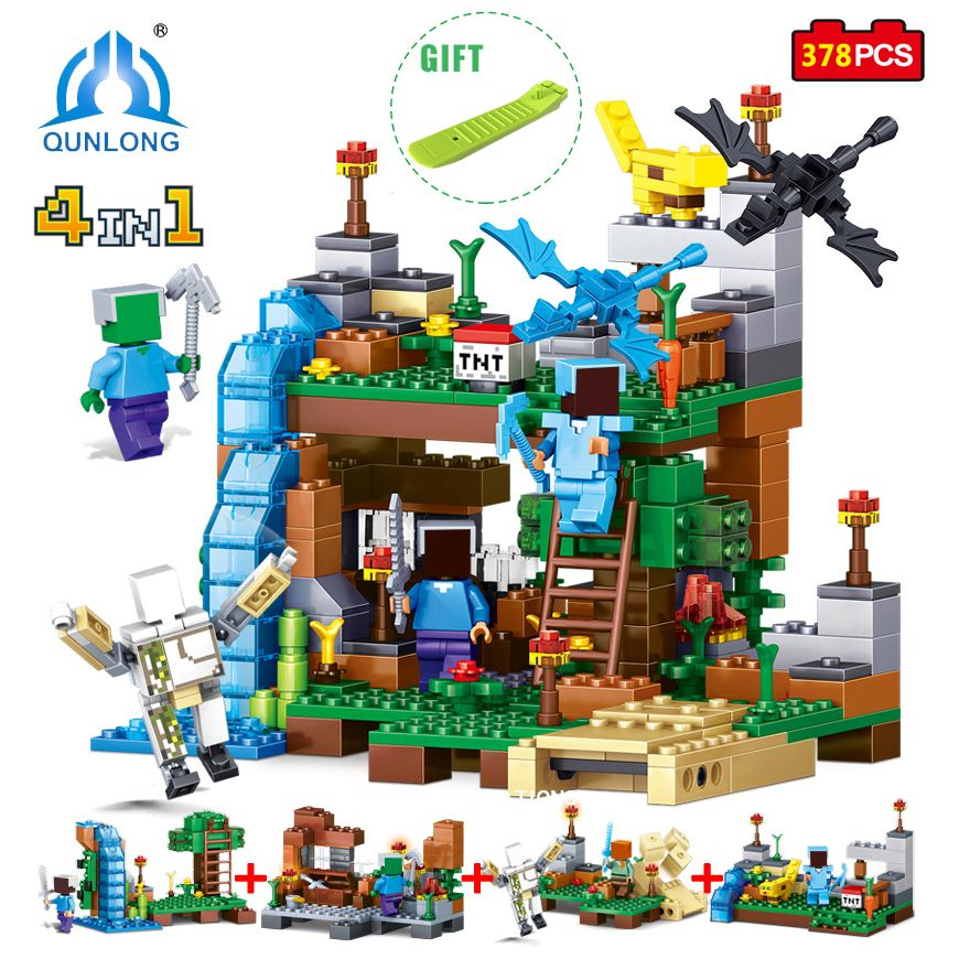 Qunlong Jouet Minecrafted Chiffres Blocs de Construction 4 en 1 DIY jardin Briques Jouet Cadeau Pour L'enfant Compatible Avec Legoe Minecraft ville