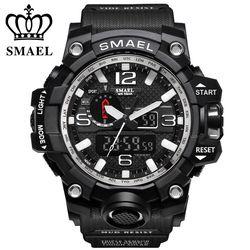 Gaya baru Olahraga Militer Jam Tangan Chronograph SMAEL Shock Merek Mewah Analog Kuarsa Dual Display pria Menonton Tahan Air jam