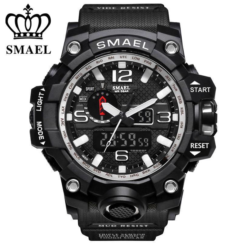 Neue Stil Chronograph Sport Militäruhren Schock Luxus Marke SMAEL Analog Quarz Dual Display Herrenuhr Wasserdichte uhr