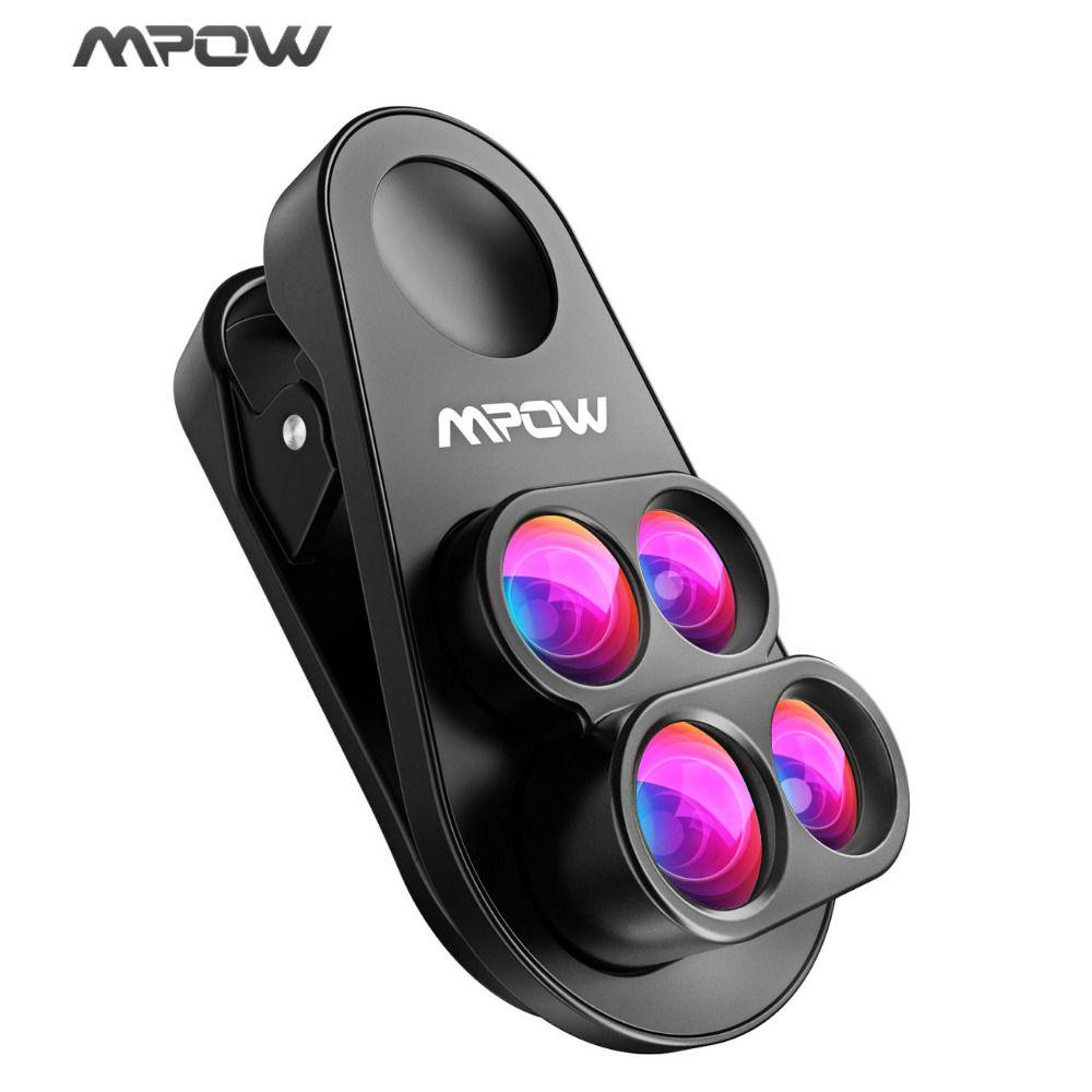 Mpow 4-in-1 HD Camera Dual&Single Phone Lens 0.65X Wide Angle + 10X Macro +160 Degree Fisheye Lens For iphone 8 7 6 6S /Plus