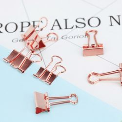 TUTU 10pcs/lot Solid Color Rose Gold Metal Binder Clips Notes Letter Paper Clip Office Supplies H0059