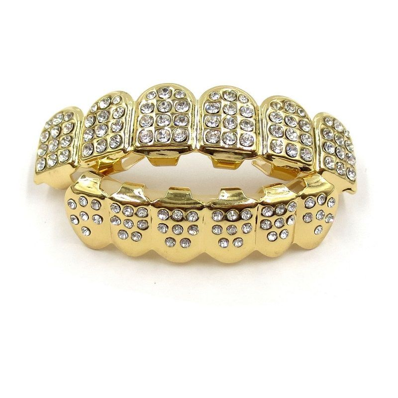 Metal Copper Tooth Grills Gold Color Crystal Dental Grillz Top Bottom Hiphop Teeth Caps Body Jewelry for Women Men Fashion