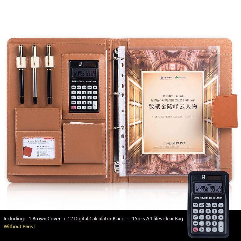 A4 organisateur de bureau multifonction Padfolios, cahier d'affaires avec calculatrice et sacs à spirale
