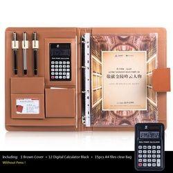 A4 Multifungsi Meja Kantor Organizer Padfolios, Notebook bisnis dengan Kalkulator & Spiral File Tas