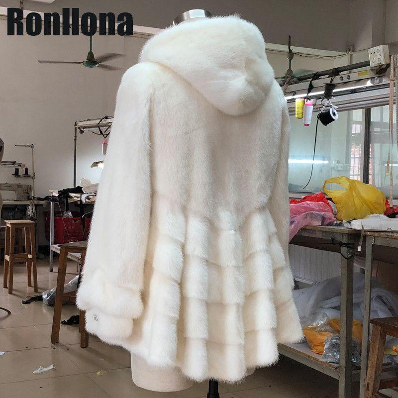 2018 neue 100% Echt Ganze Haut Natürliche Nerz Pelz Mäntel Frauen Winter Warme Pelz Mantel Mit Kapuze Rock Stil Große großhandel Pelz Jacken