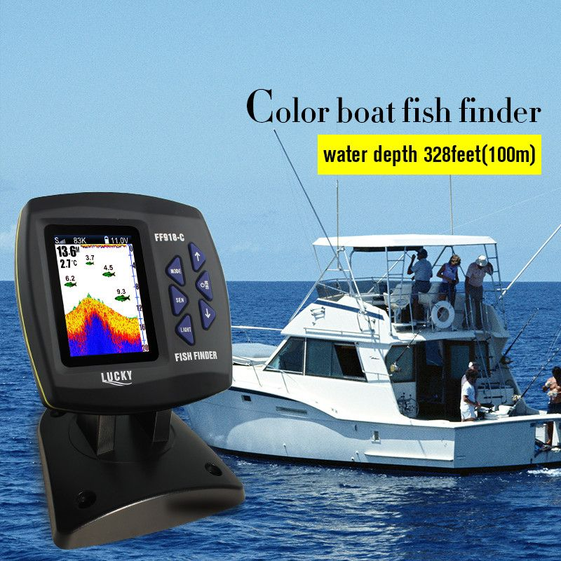 LUCKY FF918-C100DS Dual Frequency Boat Fish Finder Dual Frequency Sonar Sounder Alarm 328ft/100m Water Depth Boat Fishfinder