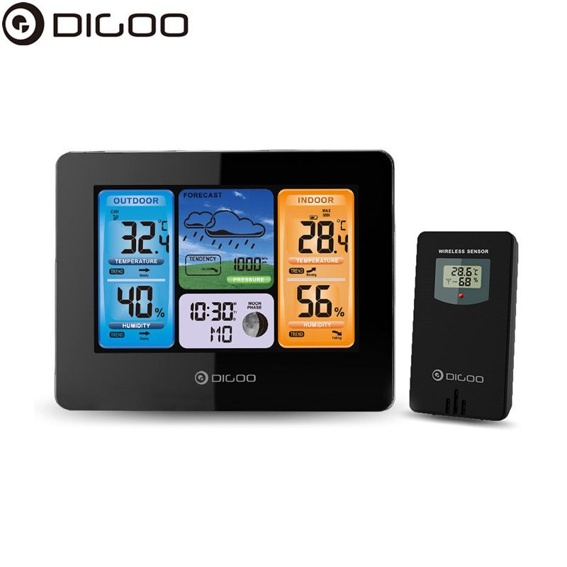 Digoo DG-EX001 WIFI APP Smart Weather Station Wireless Color Screen Temperature Humidity Sensor Thermometer Hygrometer Weather