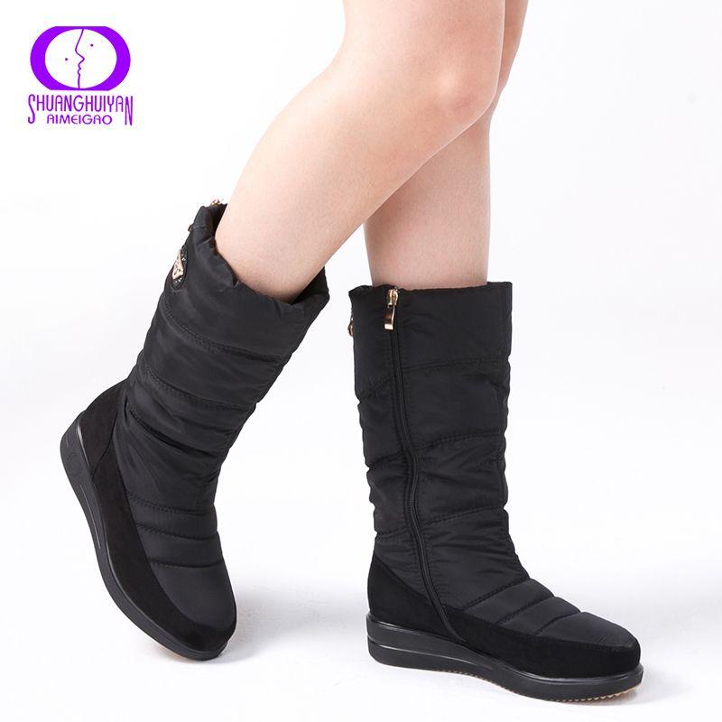 AIMEIGAO New Arrival Warm Fur Snow Boots Women Plush Insole Waterproof Boots Platform Heels Mid-calf Black Boots High Quality