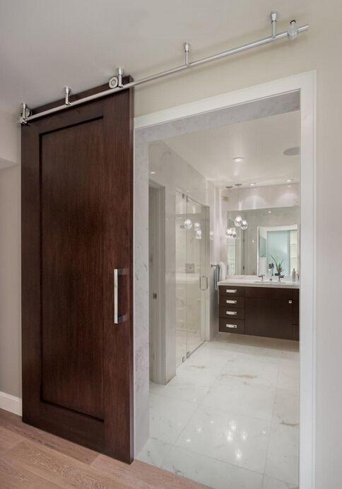 Diyhd 5ft-8ft нержавеющая сталь потолочный кронштейн раздвижные сарай композицию деревянная дверь оборудования