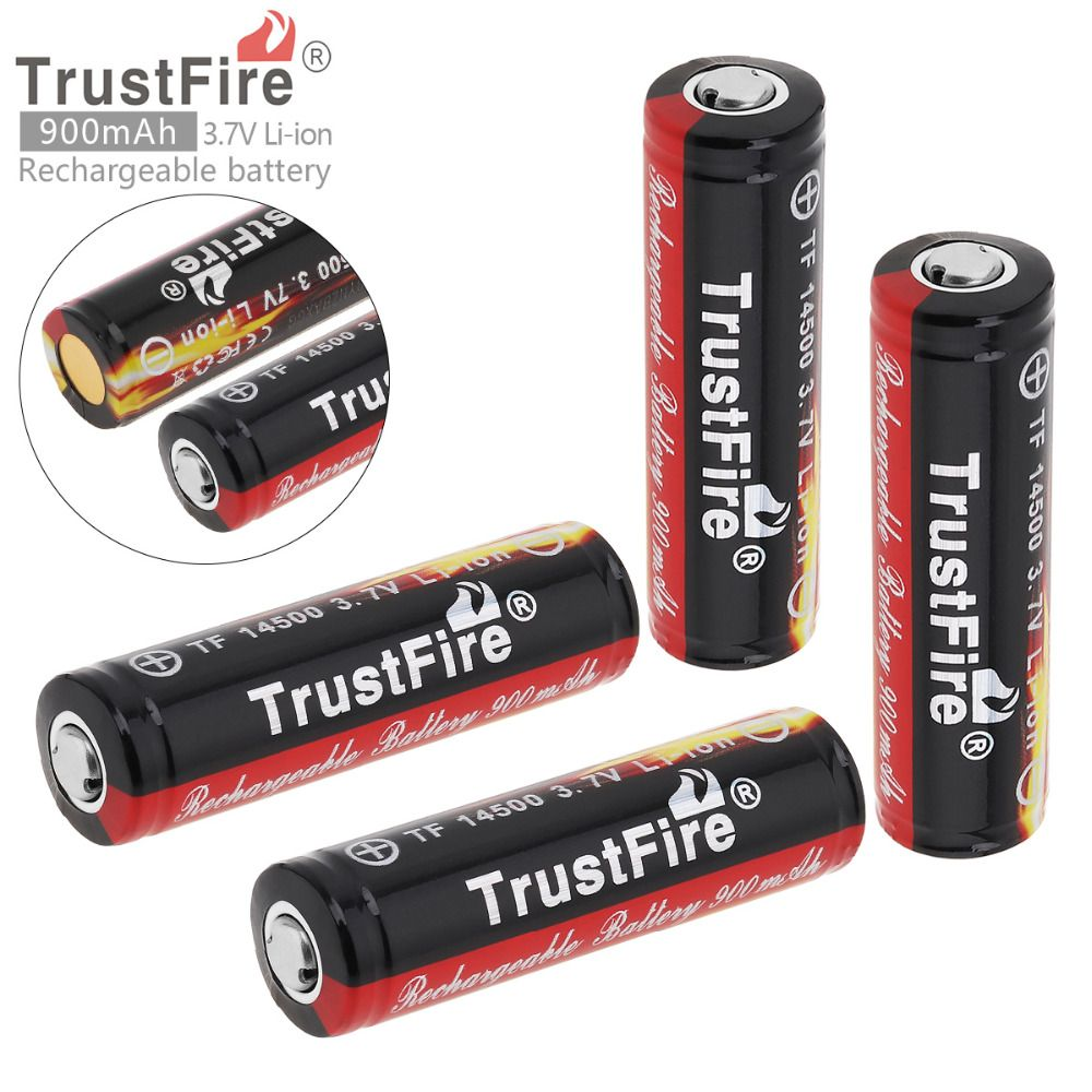 4Pcs/set TrstFire <font><b>14500</b></font> Battery 3.7V ICR14500 900Mah Li-ion Rechargeable Battery Batteries Baterias Bateria For LED Flashlight