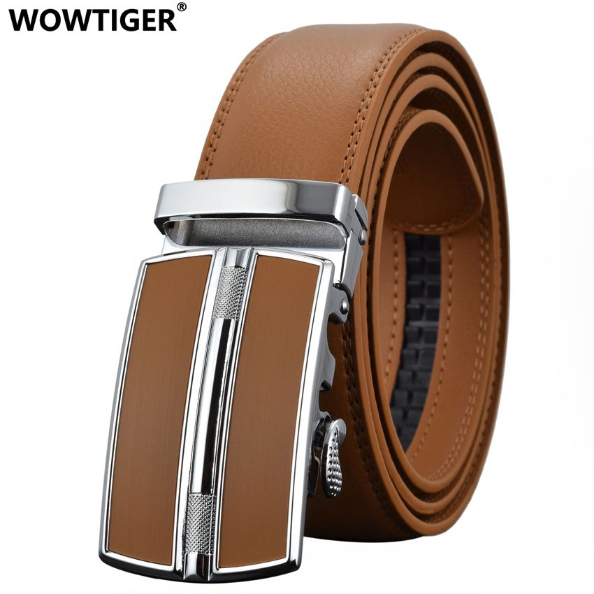 WOWTIGER Men`s Fashion <font><b>Automatic</b></font> Buckle Leather luxury Designer Male belt Waist Strap Belts for Men ceinture homme cinturon