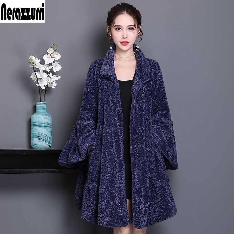 Nerazzurri Luxury runway faux fur coat woman full shirt flare sleeve fulffy faux shearling jacket plus size outwear 5xl 6xl 7xl