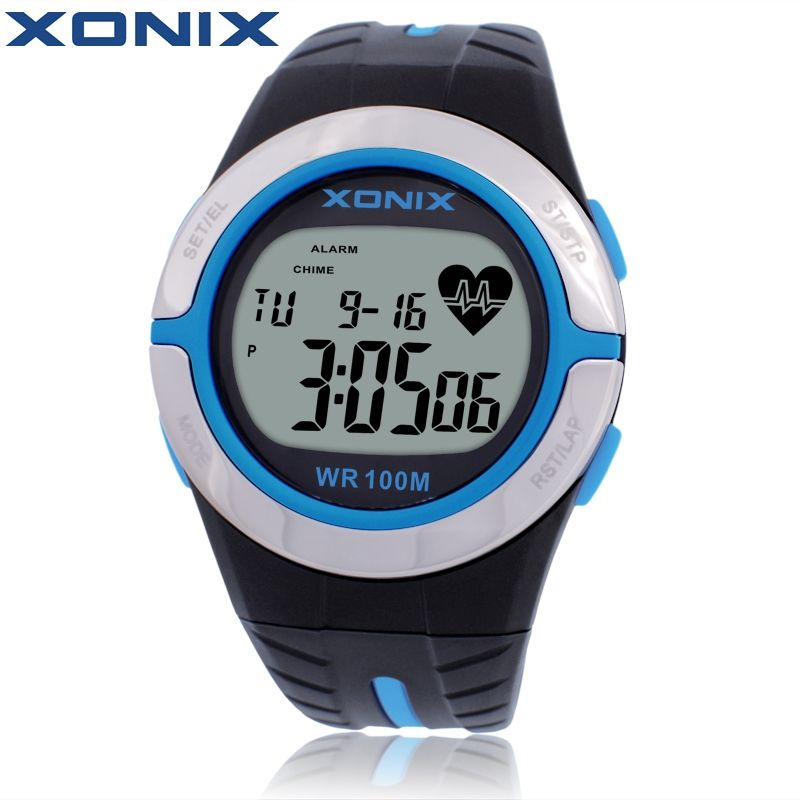 XONIX Heart Rate Monitor Unisex Sport Watches Waterproof 100m Men And Women Digital Watch Running Diving Hand Clock Montre Homme
