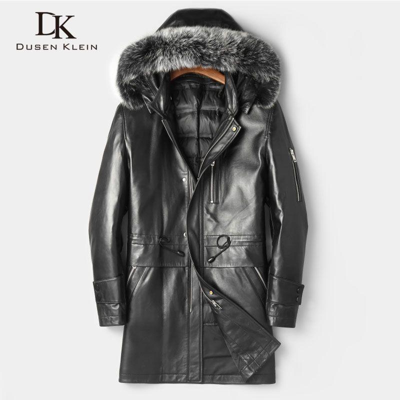 Männer Aus Echtem Leder Jacken Winter Warme Leder Unten Mantel Schaffell dicken Plus größe Fuchs pelz Mit Kapuze Schwarz 2018 Neue Lange z1809