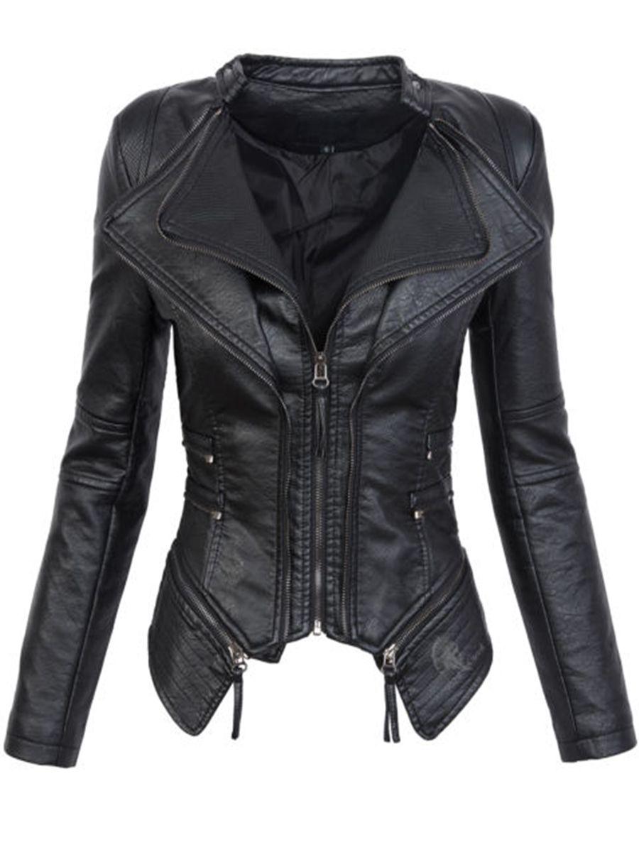 Gothique faux cuir PU Veste Femmes Hiver Automne De Mode Moto Veste Noir faux cuir manteaux manteaux 2018 Manteau CHAUD