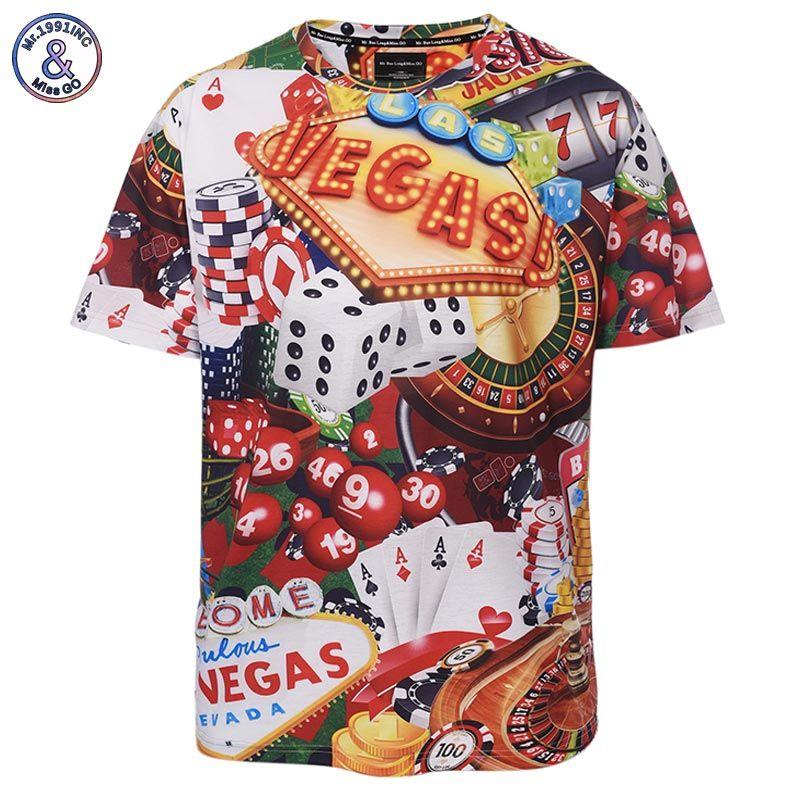 Mr.1991INC Europe America Loose Fashion Brand T-shirt Men Summer Tops Tees Shirts Print Dice Poker Vegas T shirt 3d Tshirt
