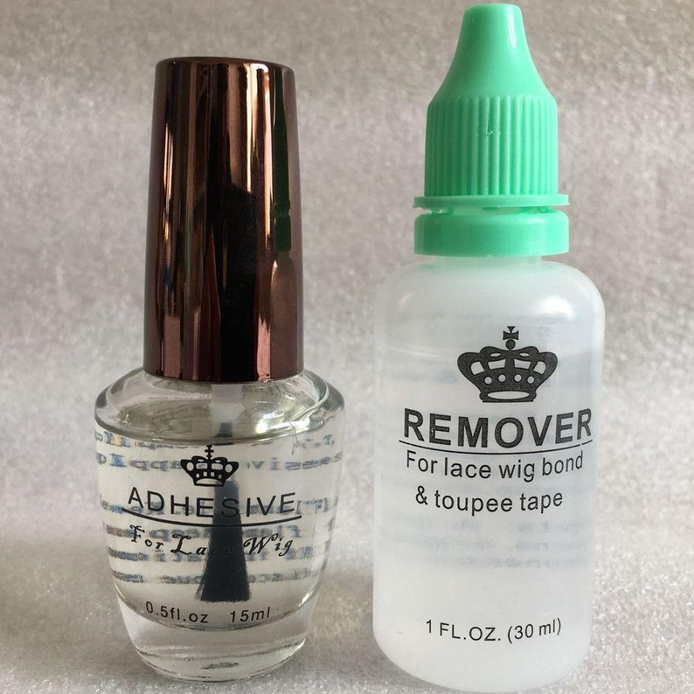 Kit dissolvant de colle pour perruque 1 bouteille 0.5 Oz 15 ml colle adhésive pour perruque en dentelle avec 1 bouteille 1 Oz 30 ml dissolvant pour colle pour perruque en dentelle