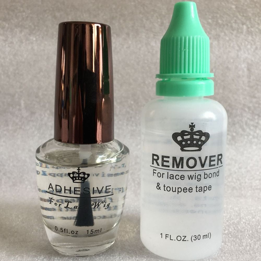 Perruque colle remover kit 1 bouteille 0.5 oz 15 ml dentelle adhésif perruque colle avec 1 bouteille 1 oz 30 ml remover pour la dentelle perruque colle