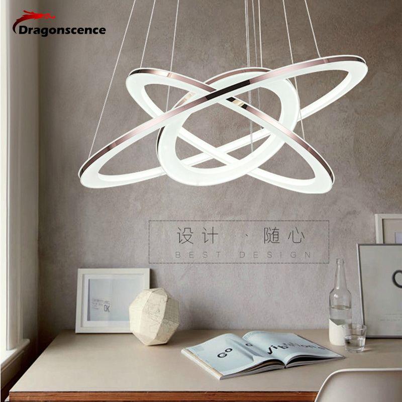 Dragonscence Modern chandelier LED circle ring Pendant chandelier light for Lobby living room Acrylic stainless steel Lustre