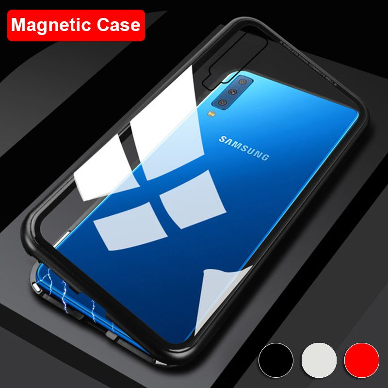 Magnetic Phone Case For Samsung Galaxy J4 Plus J6 J8 A7 2018 A750 A9 Cover Luxury Metal Bumper Tempered Glass Back Shell Coque