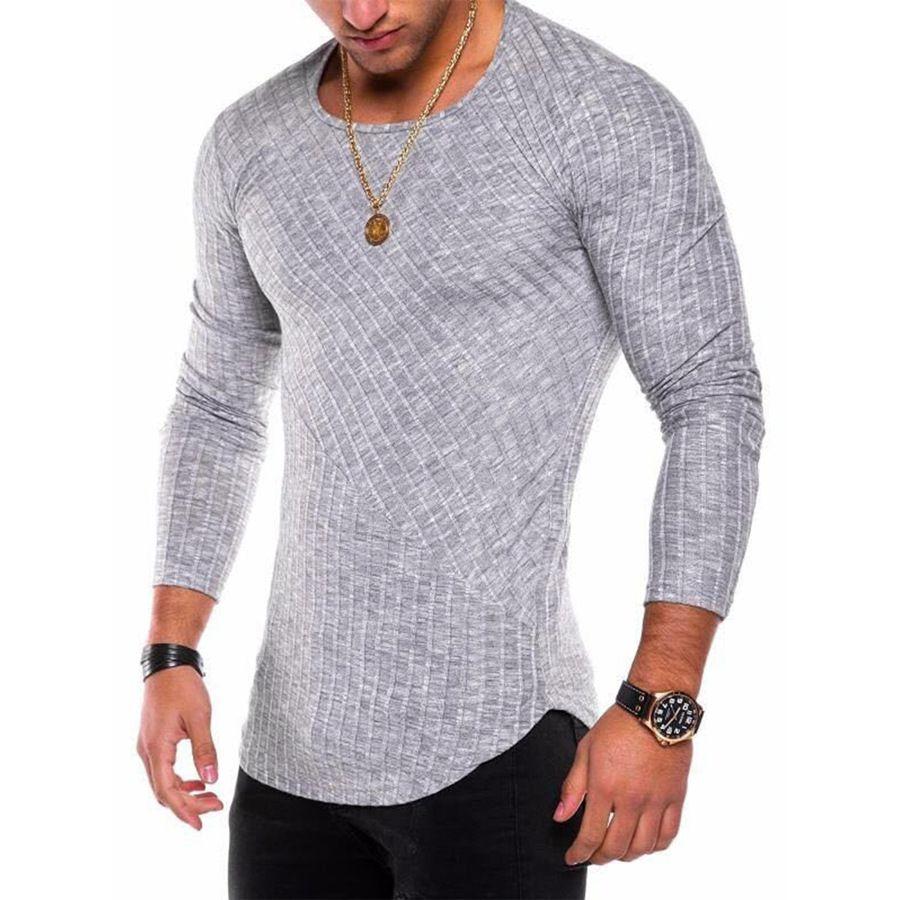2018 New Men's Sexy Long Sleeve T shirt O <font><b>neck</b></font> Slim Fit T-shirt Male Solid Color Streetwear Hip Hop High Street Tops