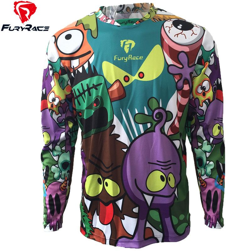 Funny long sleeve cycling jersey men&women downhill jersey bike clothing motocross maillot mtb bicycle clothes ciclismo skinsuit
