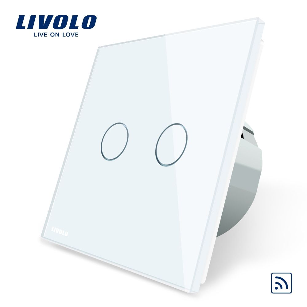 Livolo EU Standard, Crystal Glass Panel, EU standard,AC220~250V, Wall Light Remote Touch <font><b>Switch</b></font>+LED Indicator,C702R-1/2/3/5
