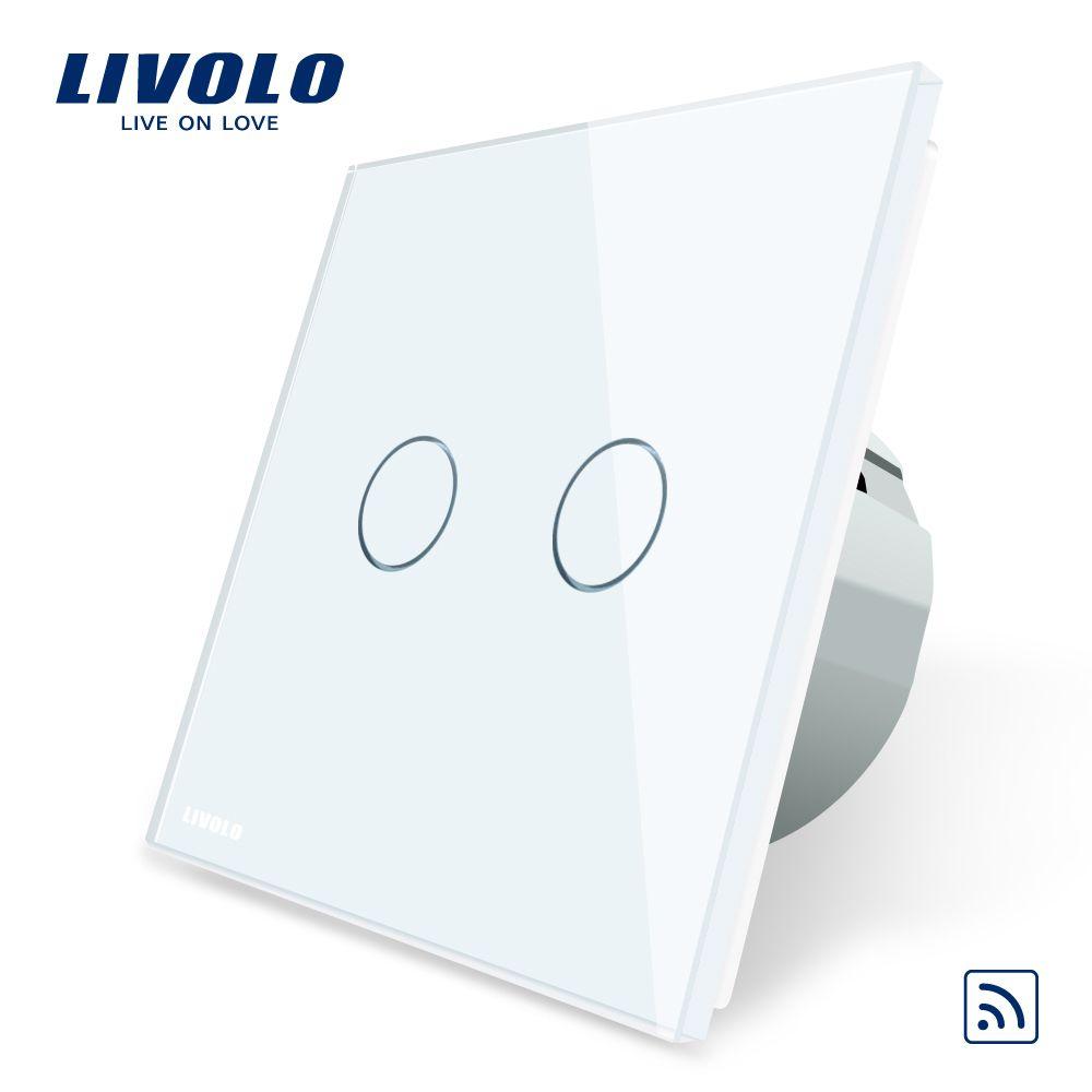 Livolo UE Standard, Panneau Verre Cristal, standard de L'UE, AC220 ~ 250 v, mur Light Touch Commutateur À Distance + Indicateur LED, C702R-1/2/3/5