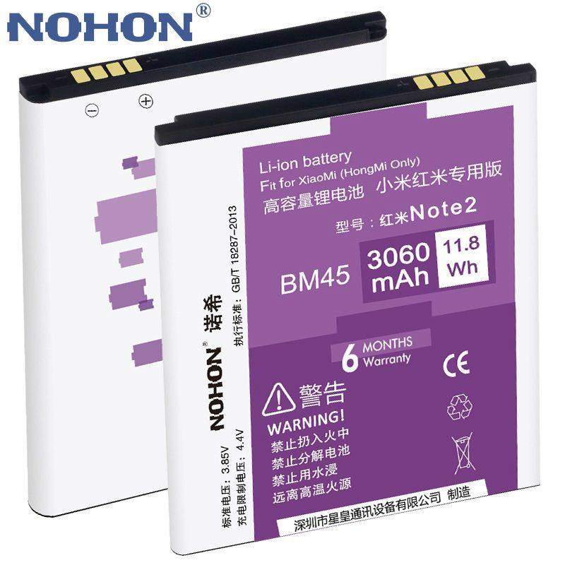 100% D'origine NOHON Li-ion Batterie 3060 mAh BM45 Pour Xiaomi RedMi Hongmi Note Riz Rouge Note 2 Haute Capacité De Remplacement Bateria