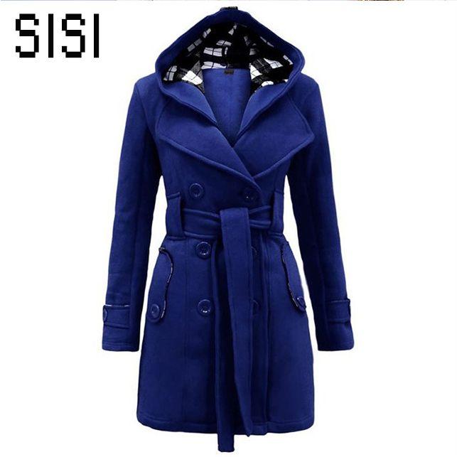 New Plaid Hooded Coat Women Autumn Winter Woollen Coats Double-Breasted Long Sleeve Outwear Medium Length Casaco Feminino Casaco