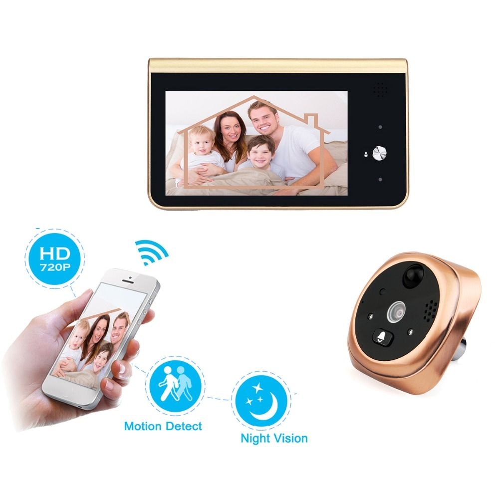 2.4GHz Wifi Smart Peephole Video Doorbell PIR Motion Detection 720P HD Camera Night Vision APP Control for iOS Android F1441J