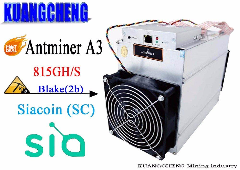 Brand New Bitmain AntMiner A3 815G ASIC Miner In stock!!!Blake 2b Algorithm Siacoin Mining machine high profit low consumption