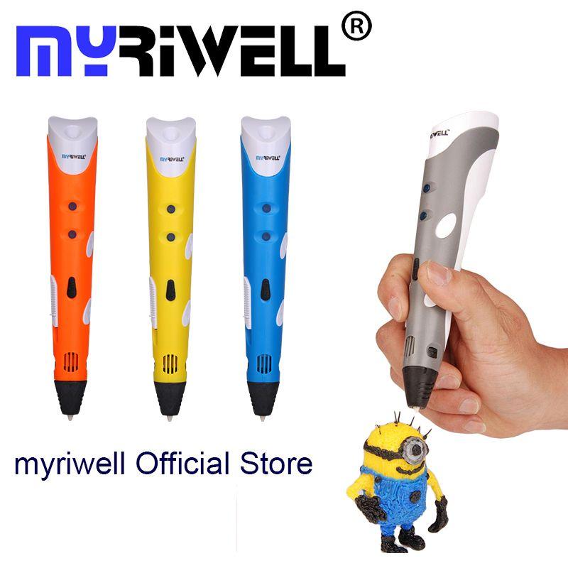 Myriwell Brand New Magique 3d imprimante stylo Dessin 3D Stylo Avec 3 Couleur ABS filaments 3D Impression 3d stylos pour les enfants cadeau d'anniversaire